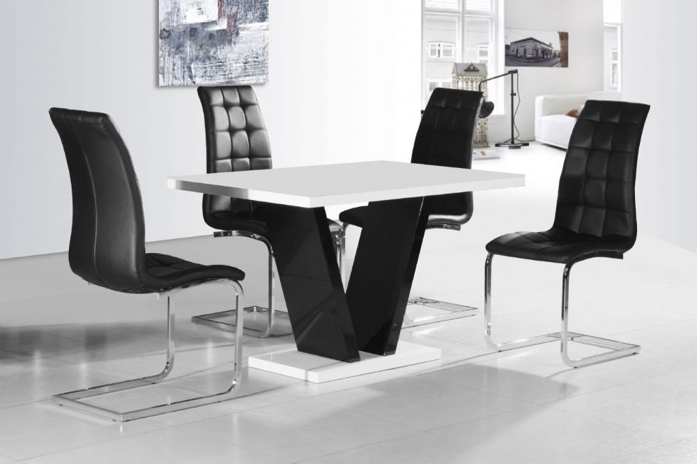 Vico White Black Gloss Contemporary Designer 120cm Dining TABLE ONLY  / 4 Black / White Chairs